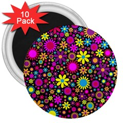 Bright And Busy Floral Wallpaper Background 3  Magnets (10 Pack)
