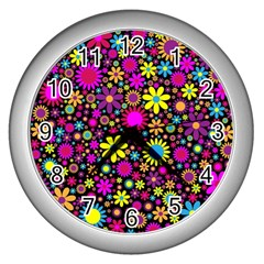Bright And Busy Floral Wallpaper Background Wall Clocks (silver)  by Nexatart