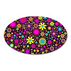 Bright And Busy Floral Wallpaper Background Oval Magnet