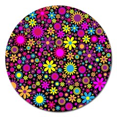 Bright And Busy Floral Wallpaper Background Magnet 5  (round)