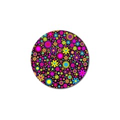 Bright And Busy Floral Wallpaper Background Golf Ball Marker (4 Pack) by Nexatart