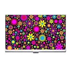 Bright And Busy Floral Wallpaper Background Business Card Holders by Nexatart