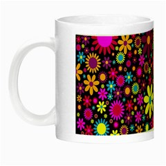Bright And Busy Floral Wallpaper Background Night Luminous Mugs