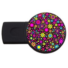 Bright And Busy Floral Wallpaper Background Usb Flash Drive Round (4 Gb) by Nexatart
