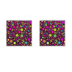 Bright And Busy Floral Wallpaper Background Cufflinks (square)