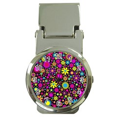 Bright And Busy Floral Wallpaper Background Money Clip Watches by Nexatart