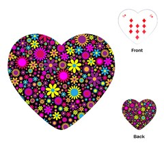 Bright And Busy Floral Wallpaper Background Playing Cards (heart)
