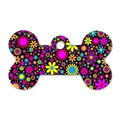 Bright And Busy Floral Wallpaper Background Dog Tag Bone (two Sides) by Nexatart