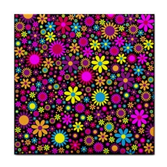 Bright And Busy Floral Wallpaper Background Face Towel by Nexatart