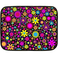 Bright And Busy Floral Wallpaper Background Fleece Blanket (mini)