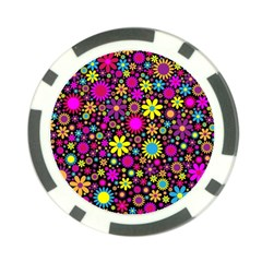 Bright And Busy Floral Wallpaper Background Poker Chip Card Guard (10 Pack)