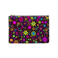 Bright And Busy Floral Wallpaper Background Cosmetic Bag (medium)