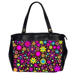 Bright And Busy Floral Wallpaper Background Office Handbags (2 Sides)  by Nexatart
