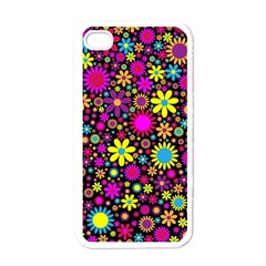 Bright And Busy Floral Wallpaper Background Apple Iphone 4 Case (white)