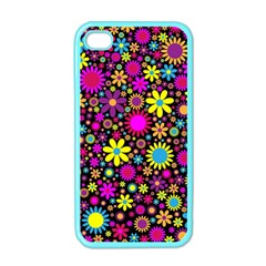 Bright And Busy Floral Wallpaper Background Apple Iphone 4 Case (color) by Nexatart