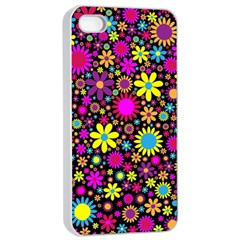 Bright And Busy Floral Wallpaper Background Apple Iphone 4/4s Seamless Case (white)