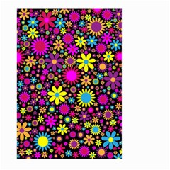 Bright And Busy Floral Wallpaper Background Large Garden Flag (two Sides)
