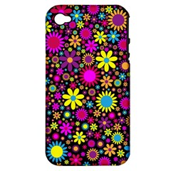 Bright And Busy Floral Wallpaper Background Apple Iphone 4/4s Hardshell Case (pc+silicone) by Nexatart