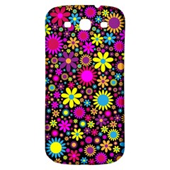 Bright And Busy Floral Wallpaper Background Samsung Galaxy S3 S Iii Classic Hardshell Back Case by Nexatart