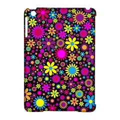 Bright And Busy Floral Wallpaper Background Apple Ipad Mini Hardshell Case (compatible With Smart Cover) by Nexatart
