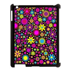 Bright And Busy Floral Wallpaper Background Apple Ipad 3/4 Case (black) by Nexatart