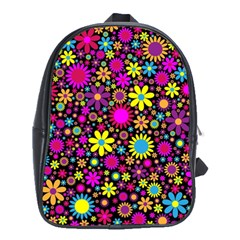 Bright And Busy Floral Wallpaper Background School Bags (xl)