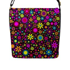 Bright And Busy Floral Wallpaper Background Flap Messenger Bag (l)