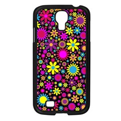 Bright And Busy Floral Wallpaper Background Samsung Galaxy S4 I9500/ I9505 Case (black) by Nexatart