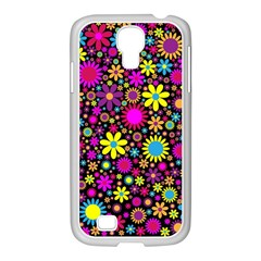 Bright And Busy Floral Wallpaper Background Samsung Galaxy S4 I9500/ I9505 Case (white)