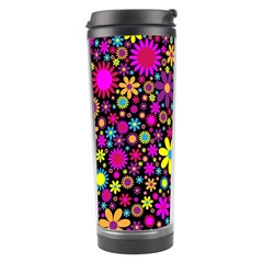 Bright And Busy Floral Wallpaper Background Travel Tumbler