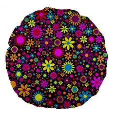 Bright And Busy Floral Wallpaper Background Large 18  Premium Flano Round Cushions by Nexatart