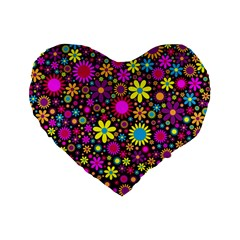 Bright And Busy Floral Wallpaper Background Standard 16  Premium Flano Heart Shape Cushions by Nexatart