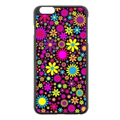 Bright And Busy Floral Wallpaper Background Apple Iphone 6 Plus/6s Plus Black Enamel Case