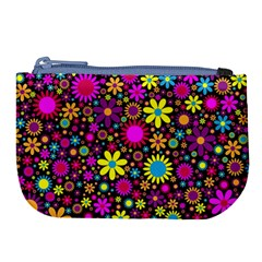 Bright And Busy Floral Wallpaper Background Large Coin Purse