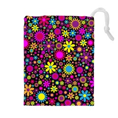 Bright And Busy Floral Wallpaper Background Drawstring Pouches (extra Large)