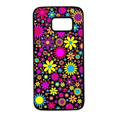 Bright And Busy Floral Wallpaper Background Samsung Galaxy S7 Black Seamless Case