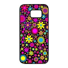 Bright And Busy Floral Wallpaper Background Samsung Galaxy S7 Edge Black Seamless Case