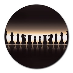 Chess Pieces Round Mousepads by Valentinaart