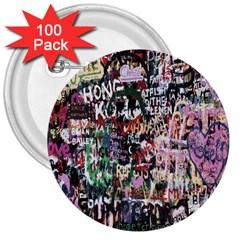 Graffiti Wall Pattern Background 3  Buttons (100 Pack)