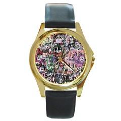 Graffiti Wall Pattern Background Round Gold Metal Watch