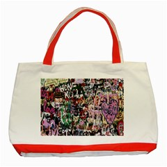 Graffiti Wall Pattern Background Classic Tote Bag (red)
