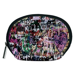 Graffiti Wall Pattern Background Accessory Pouches (medium)  by Nexatart