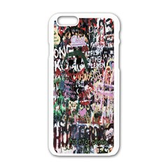 Graffiti Wall Pattern Background Apple Iphone 6/6s White Enamel Case by Nexatart