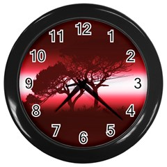 Sunset Wall Clocks (black) by Valentinaart