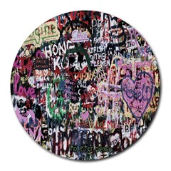 Graffiti Wall Pattern Background Round Mousepads by Nexatart