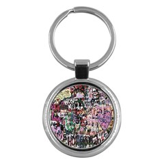 Graffiti Wall Pattern Background Key Chains (round)