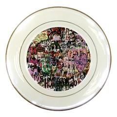 Graffiti Wall Pattern Background Porcelain Plates by Nexatart