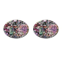 Graffiti Wall Pattern Background Cufflinks (oval)