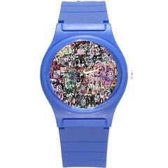 Graffiti Wall Pattern Background Round Plastic Sport Watch (s)