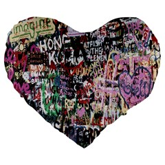 Graffiti Wall Pattern Background Large 19  Premium Heart Shape Cushions by Nexatart